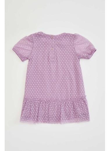 DeFacto Kız Bebek Tül Detaylı Elbise Mor